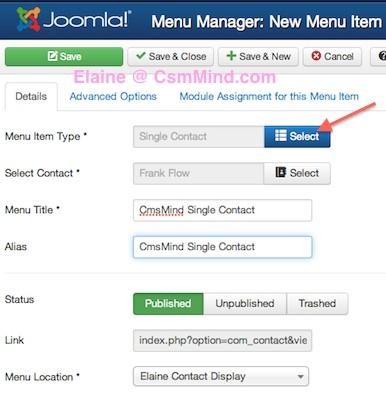 Joomla 3.1.1 Create New Menu Item Single Contact