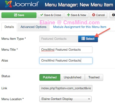 Joomla 3.1. New Menu Item, Create New Featured Contact