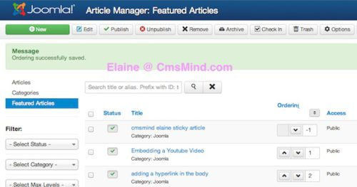 joomla 3 1 1 ordering make featured article sticky 4 Joomla 3.1.1 Tutorial   How to Make Featured Article Sticky