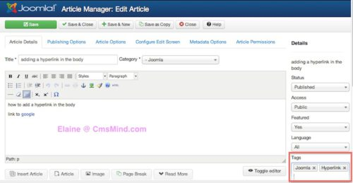 Joomla 3.1.1 Article Edit Add Article Tags