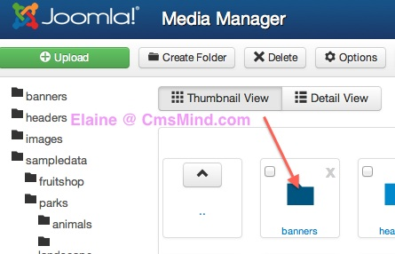 joomla 3 media manager click on folder 2 Joomla 3.0 Tutorial   How to Upload Images to a Subfolder