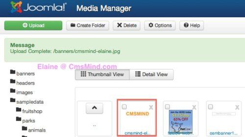 Joomla 3.0 Media Manager file successfully uploaded to subfolder
