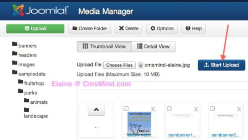 Joomla 3.0 Media Manager Select file and start Upload