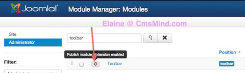 Joomla 3.0 Module Manager Administrator - Toolbar click to enable