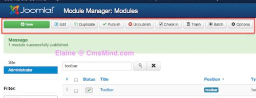 Joomla 3.0 Administrator Toolbar enabled