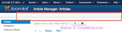 Joomla 3.0 Article Manager Articles Missing Admin Toolbar