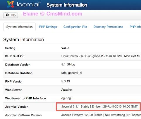 Joomla Tutorial - View System Information Joomla Version 3.1.1
