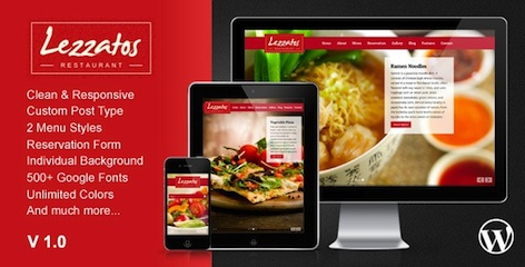 Features of Responsive Restaurant WordPress Theme - Lezzatos