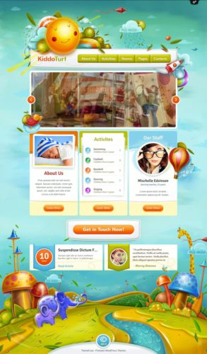 responsive kids wordpress theme kiddoturf Cost to Create a Childrens Website with Kids Wordpress Theme   KiddoTurf