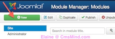 cmsmind module manager new module 2 Joomla 3 Tutorial   How to Add a Whos Online Module to your Site