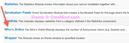 CmsMind Add New Module Who's Online
