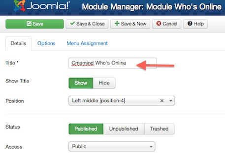 cmsmind module manager new module whos online details 4 Joomla 3 Tutorial   How to Add a Whos Online Module to your Site