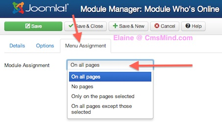 Joomla 3 Module Manager Who's Online Menu Assignment