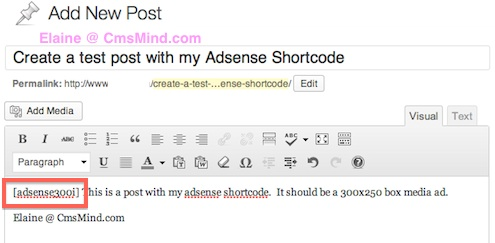 cmsmind wordpress tutorial add adsense shortcode into post 6 How to Create Adsense Shortcode in WordPress