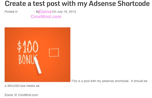 cmsmind wordpress tutorial see adsense shortcode into post 7 How to Create Adsense Shortcode in WordPress