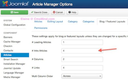 Joomla 3.0 Article Manager Options Blog/Featured Article Layout
