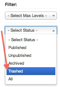 Joomla 3 Content Category Manager Status=Trashed