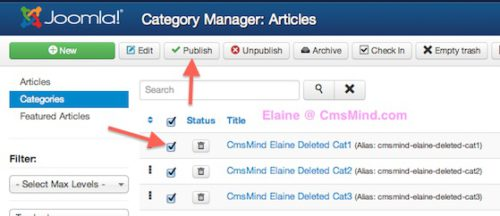 Joomal 3 Content Category Manager Publish Trashed Categories