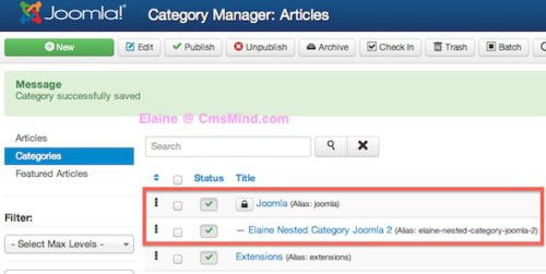 Joomla 3 Tutorial New Nested Category Created Under Joomla