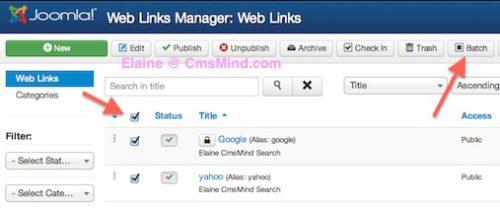 Joomla 3 Tutorial - Select Weblinks to copy and paste