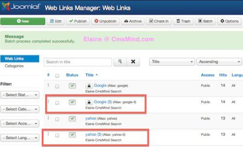 Joomal 3 Tutorial Weblinks Batch - Weblinks Successfully Pasted