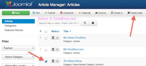 joomla 3 tutorial how to delete article 3 Joomla 3 Tutorial   How to Really Delete an Article in Article Manager