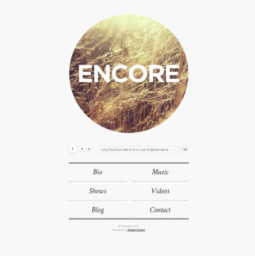 Responsive Minimalistic Band WordPress theme - Shaken Encore
