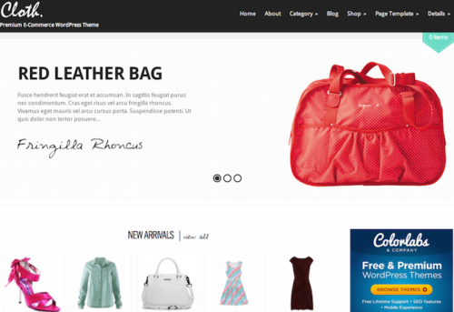Cloth Ecommerce WordPress Theme Colorlabs