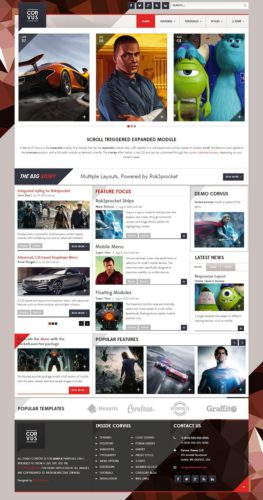Corvus Responsive Magazine News Joomla 3 Template RocketTheme Create an Amazing Magazine Website with Joomla 3 Magazine Template Corvus