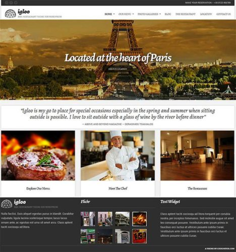 Igloo Restaurant Wordpress Theme CSSIgniter Create a Restaurant Website with Igloo Wordpress Restaurant Theme
