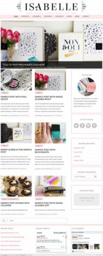 Isabelle WordPress Theme BluChic Woman Blog Template Professional Girly Blog Wordpress Theme   Isabelle