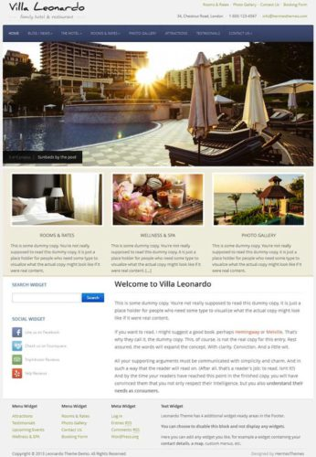Leonardo Hotel Template WordPress Theme Hermes Themes Best Hotel Themes