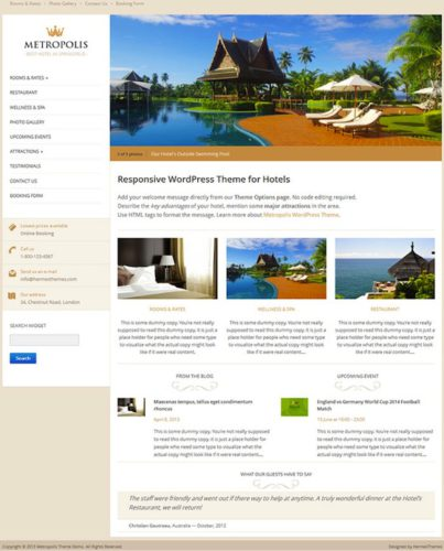 Metropolis Hotel WordPress Theme Online Booking Hermes Themes Hotel Wordpress Theme with Online Reservations   Metropolis