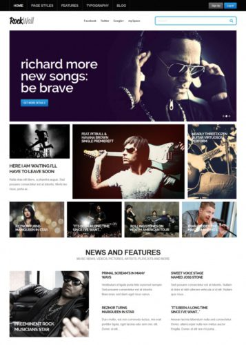 RockWall Music Wordpress Theme Responsive Responsive Music Wordpress Theme   RockWall