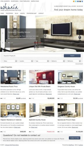 Ushuaia Premium Real Estate Property WordPress Child Theme WPcasa Stylish and Professional Real Estate Wordpress Theme   Ushuaia