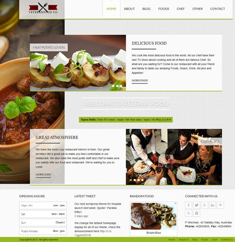 Veteranfood Responsive Vintage Restaurant Wordpress Theme Cubic Themes Veteranfood Stylish Wordpress Theme for a Restaurant Website