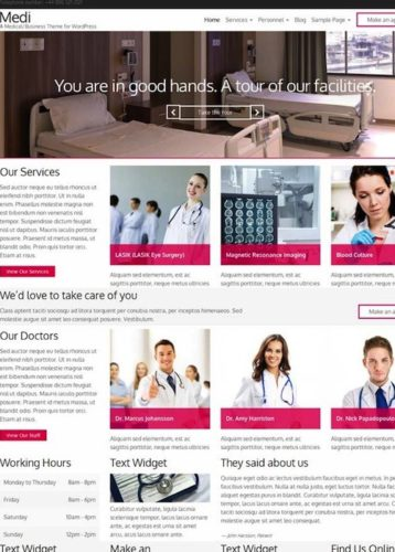 Medi Health Medical Template Doctors Hospitals Dentists Wordpress Theme Cssigniter 5 Cssigniter Contest   Win an Annual Subscription and Access to All Themes