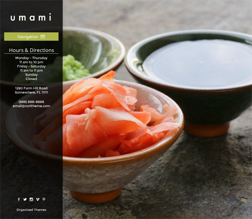 Japanese Restaurant Wordpress Theme umami Organized Themes 1 Create a Japanese Sushi Restaurant Site with Umami Wordpress