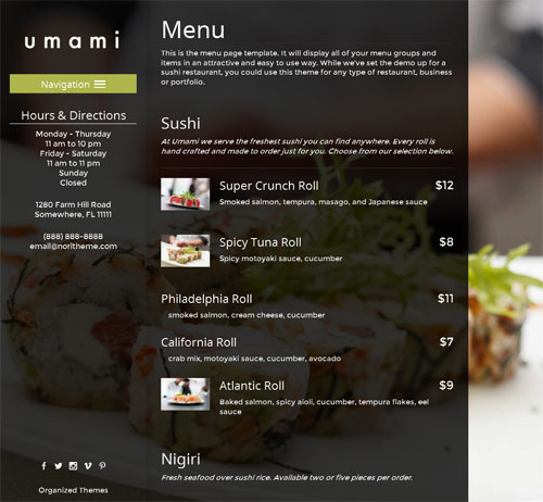 Japanese Restaurant Wordpress Theme umami Organized Themes Menu Create a Japanese Sushi Restaurant Site with Umami Wordpress