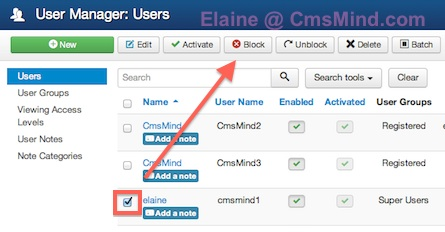 cmsmind elaine block superuser 1 2014 Joomla 3.3 Tutorial   How to Delete or Block a Super User