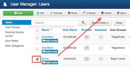 cmsmind elaine delete superuser 3 2014 Joomla 3.3 Tutorial   How to Delete or Block a Super User