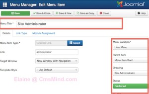 cmsmind joomla 3 3 new things 2014 3 300x189 Joomla 3.3   Some Changes in the Administrator Panel Menu Manager
