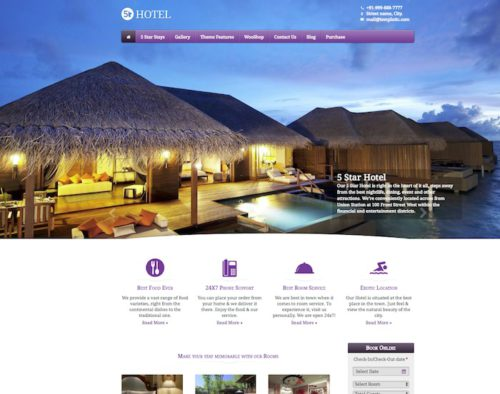 Hotel Site - WordPress Theme 5 Star