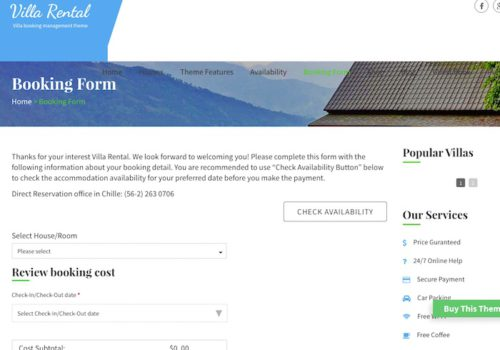 Hotel Site WordPress Theme Villa Rental