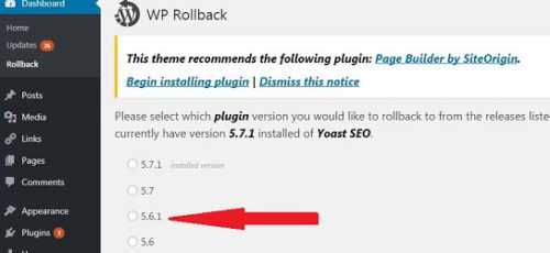 Wordpress - revert to a previous version of the plugin